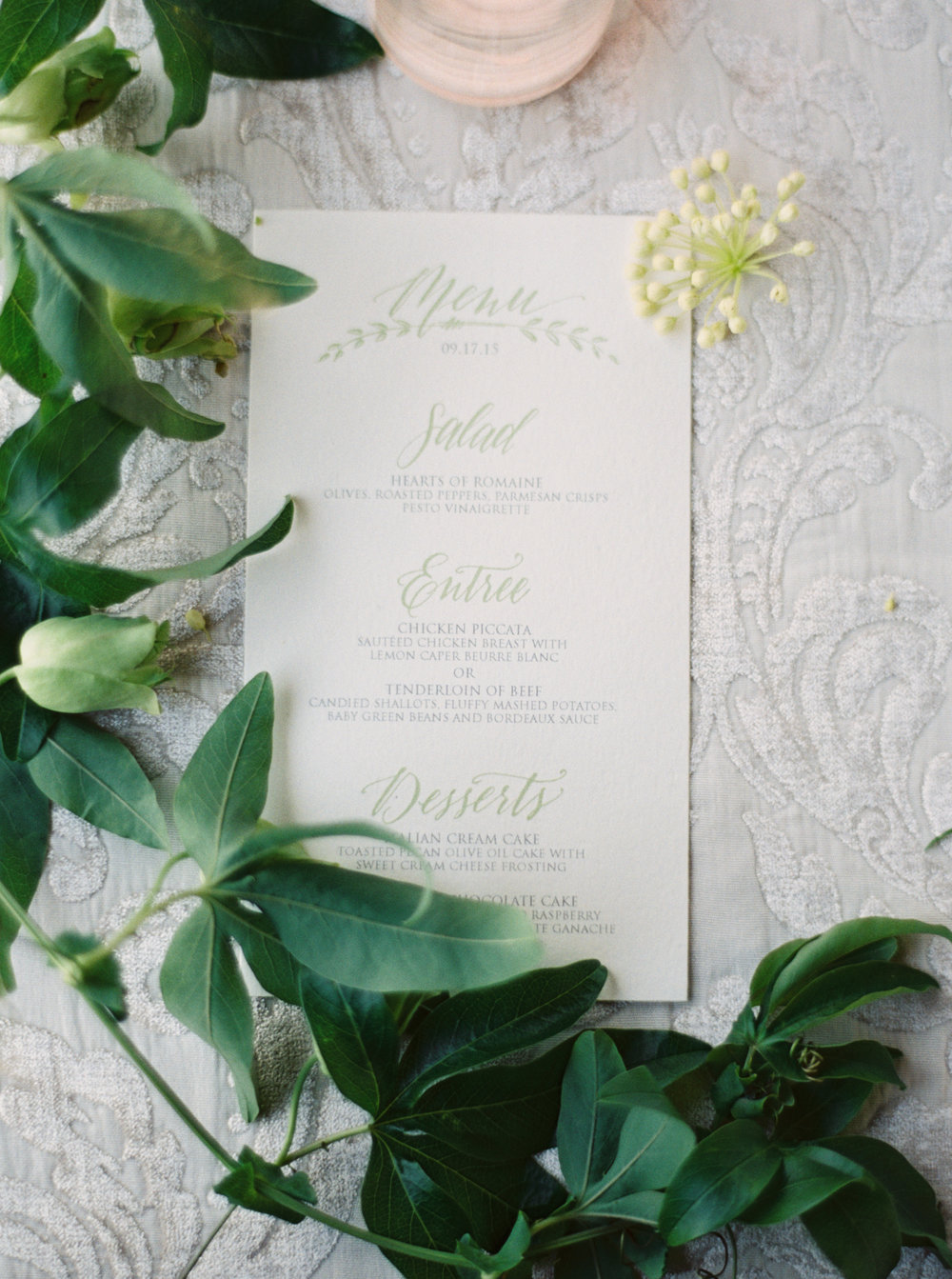 Green and white castle wedding inspiration by Columbus, Ohio wedding planner Meggie Francisco. Photo by Stephanie Brazzle.