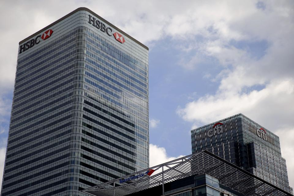 The offices of HSBC, Bank of America and Citigroup in the Canary Wharf financial district of east London. (AFP/Getty Images)