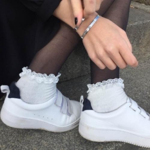 des chaussettes blanches à dentelle qui déchirent : Topshop (je crois) j'adore les chaussettes à dentelle ou à paillettes... des baskets à scratch blanches : Sandro