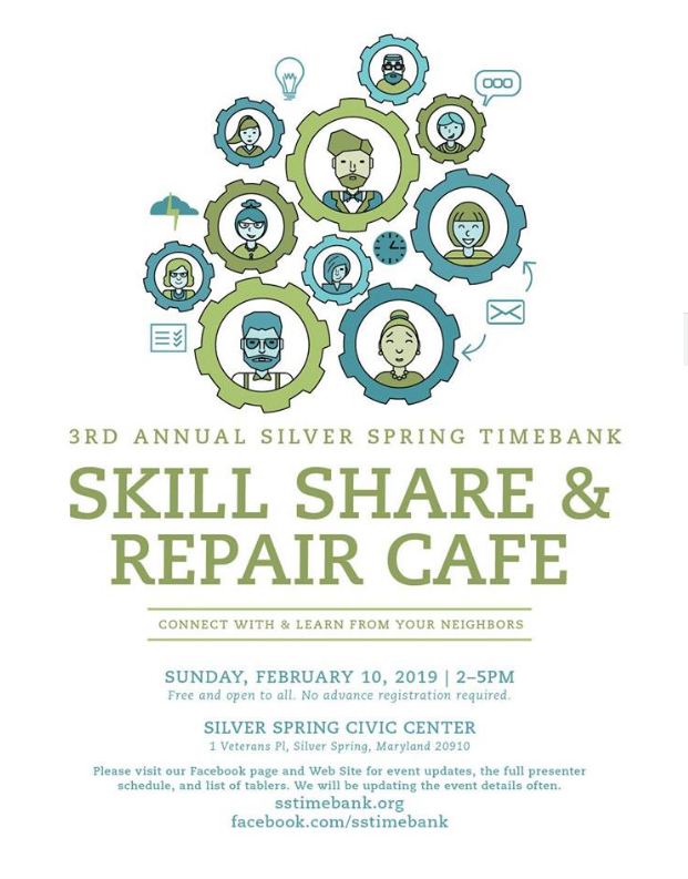 It's time for our Skill Share and Repair Cafe! — Silver Spring Timebank