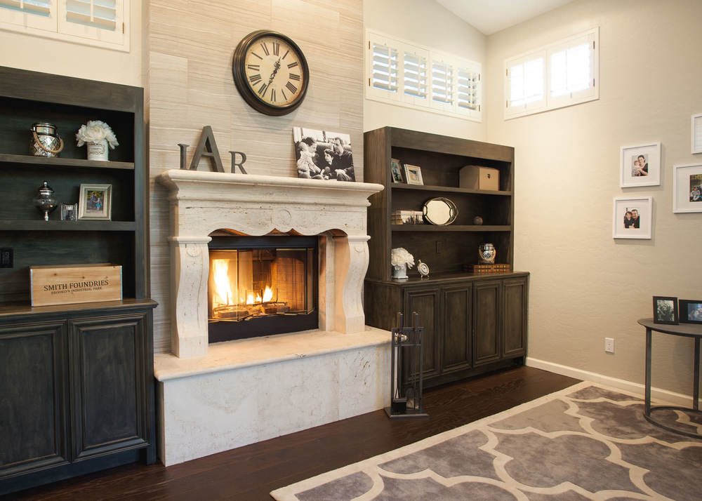 French Provincial Revamp. Transitional Living Room Fireplace