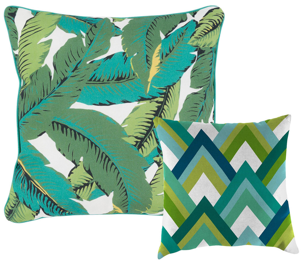 Outdoor Throw Pillows - A colorful set of outdoor pillows are an inexpensive way to refresh your exterior decor. We love the Golden Girls vibe of this bright palm pattern. Pair it with the structured geometric cushion for maximum effect—the modern graphic pattern will bring it right back to 2017.