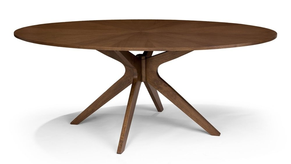 Article | Conan Dining Table ($599) - This piece has an ash veneer stained in a walnut finish. You wouldn't be able to refinish this piece, but veneers tend to be more stable than solid wood furniture, so it's a trade off. This piece is also a touch bigger than the DWR counterpart, making it more comfortable for 6-8 people.