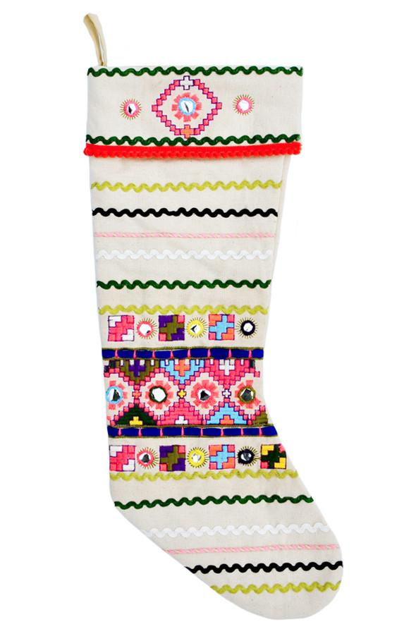 Leif Neon Folk Canvas Stocking