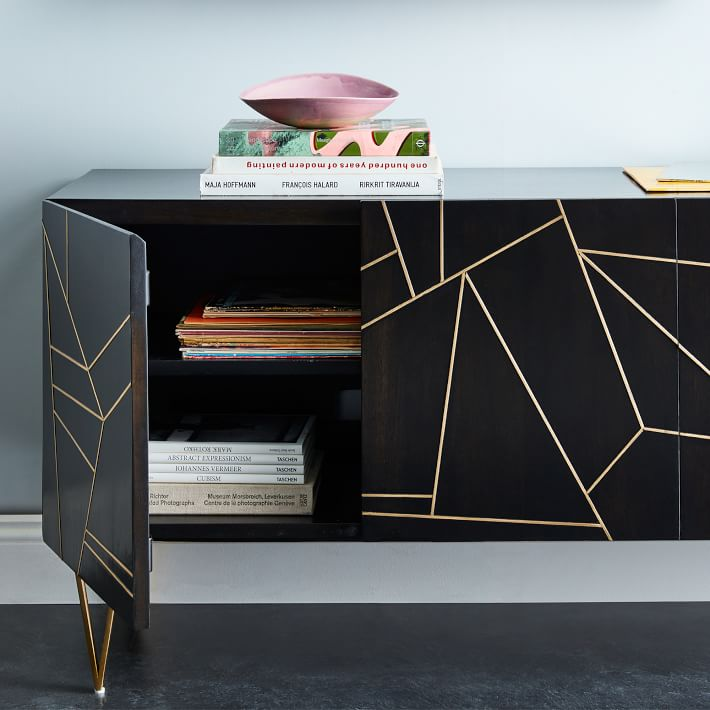 Roar + Rabbit™ Brass Geo Inlay Media Console
