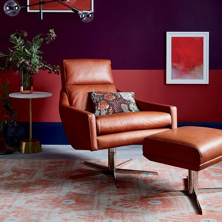 Austin Leather Swivel Armchair