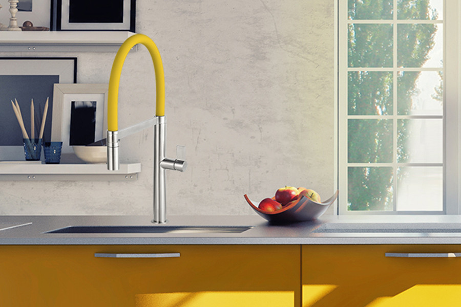Caressi Colours Stainless Steel Kitchen Tap in Yellow