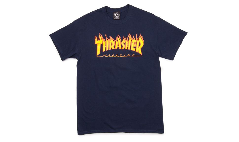 b9cd9ee9788 Thrasher Magazine Flame Logo T-shirt Blue Navy — Soul Studio