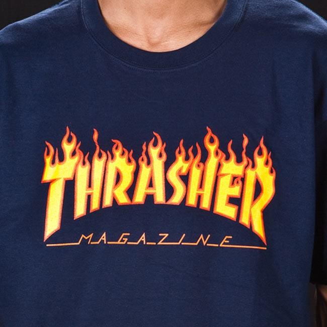 5e390cdc Thrasher Magazine Flame Logo T-shirt Blue Navy — Soul Studio | Shop ...