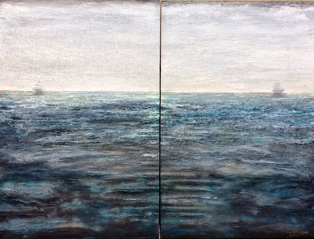 "SEPARATE WAYS (Diptych 48""Wx36""H)"