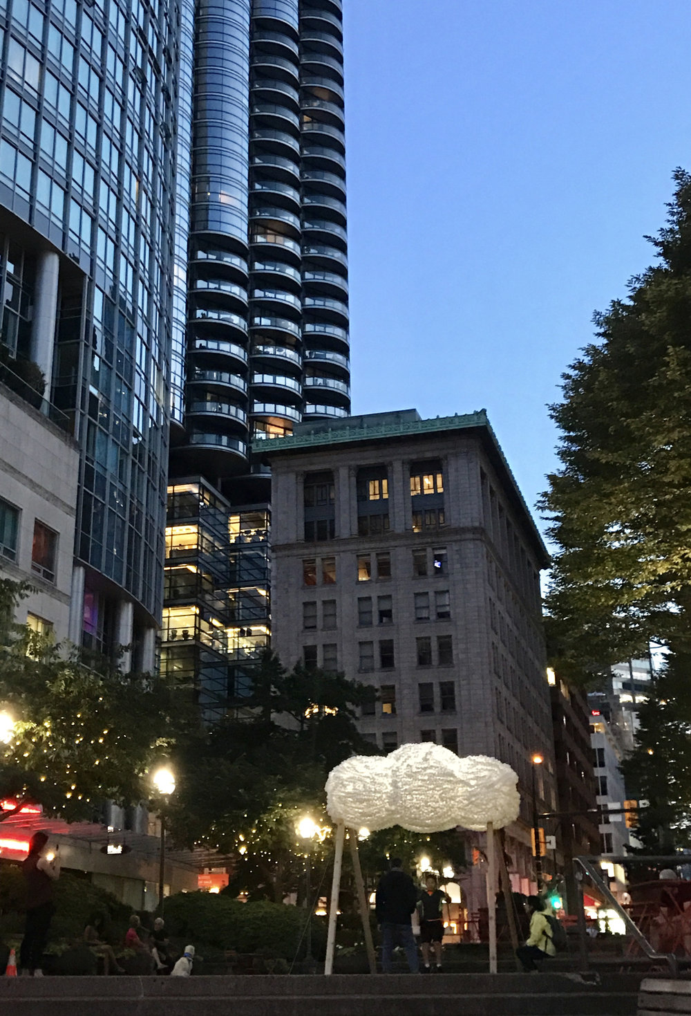 Vancouver's Business District - The second iteration of the Cloud Swing was commissioned by Vancouver's Downtown BIA as a semi permanent installation. The cloud is made out of 18,000 pingpong balls hand stitched onto an alluminium frame.