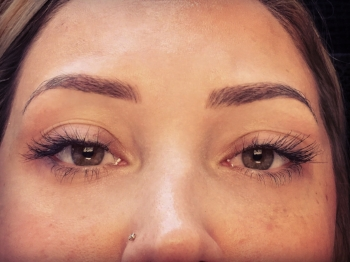 Healed brows at 5 weeks. The second appointment/touch up has not yet been done.
