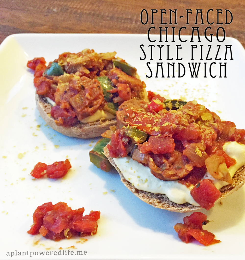 Open-Faced Chicago Style Pizza Sandwich