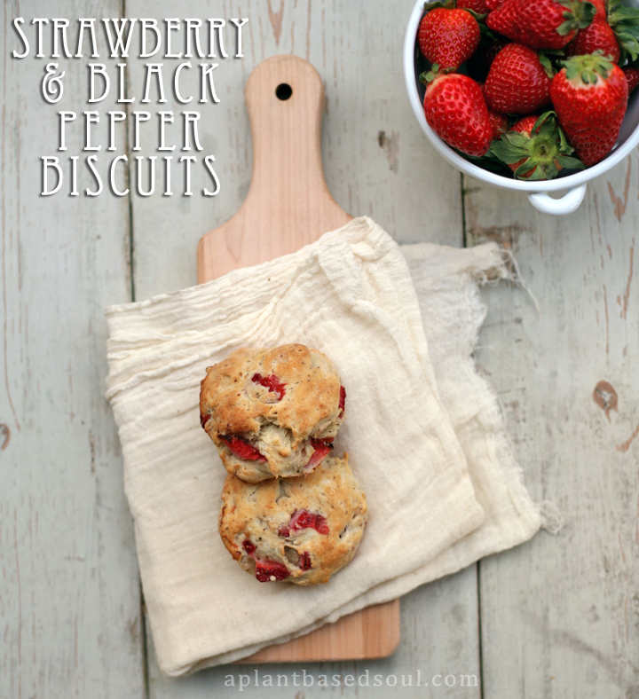 vegan strawberry and black pepper biscuits