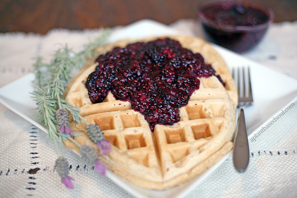 Vegan Lavender waffles with berry chia syrup