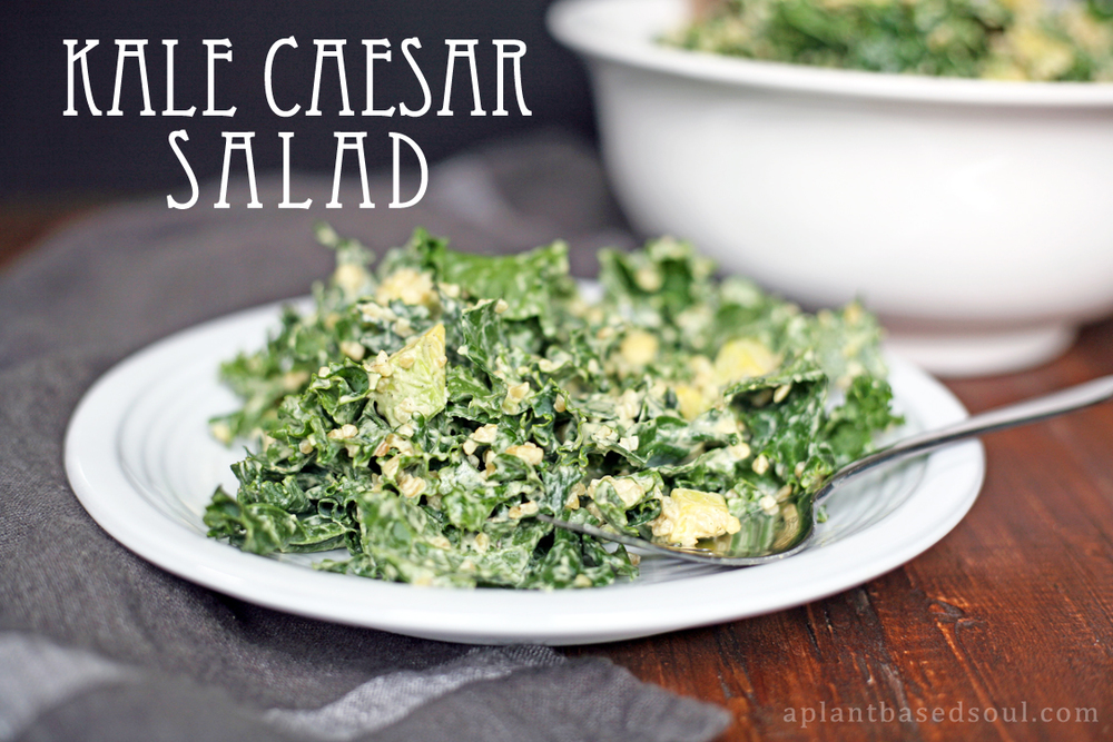 kale caesar salad with hemp, bulgar and avocado