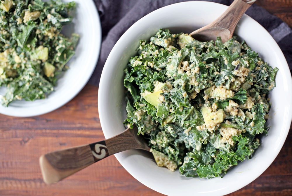 healthy vegan and soy free kale caesar salad