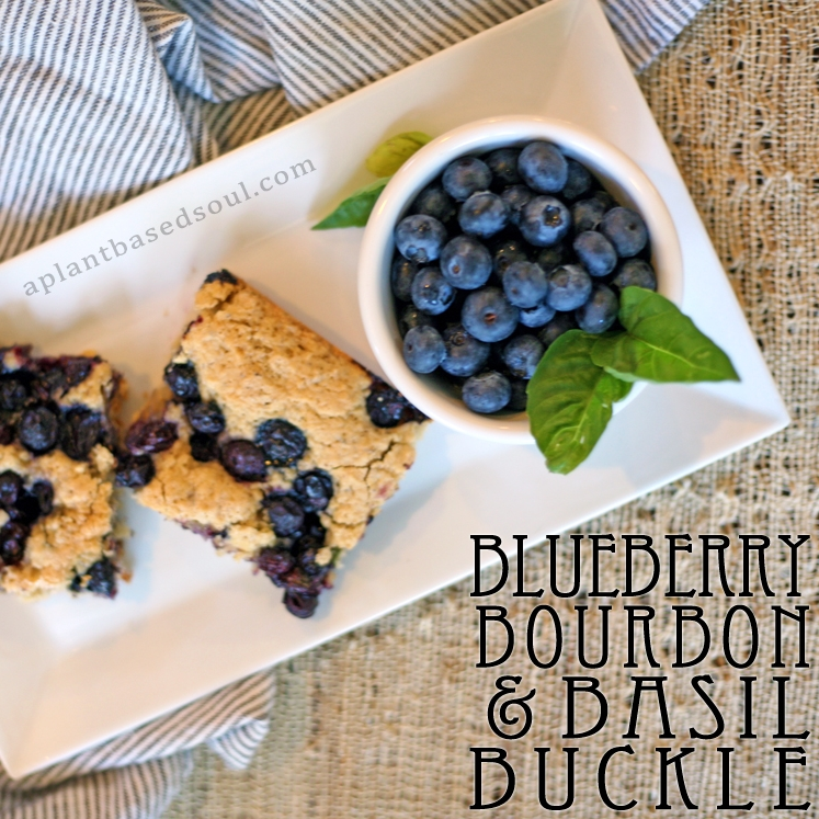 Blueberry Bourbon and Basil Buckle