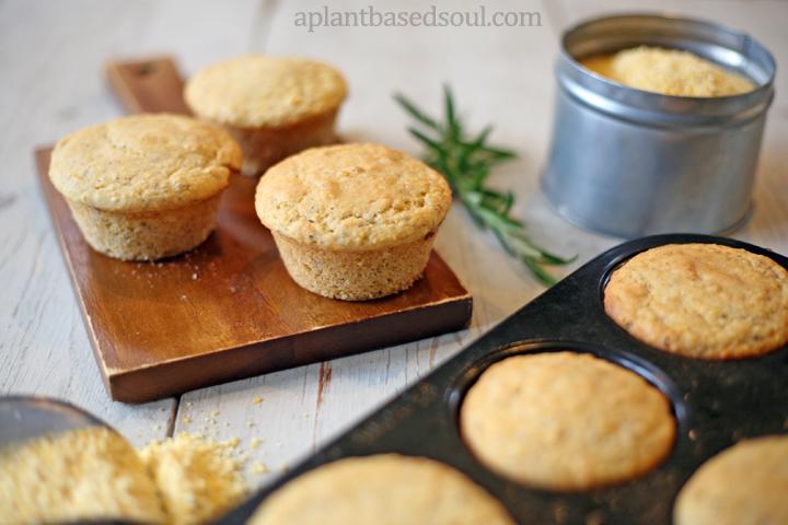 vegan rosemary cornbread muffins