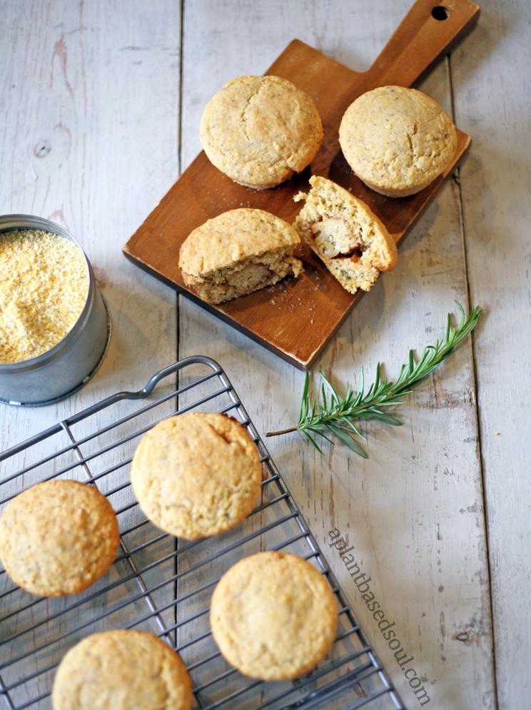 vegan bbq tempeh cornbread muffins