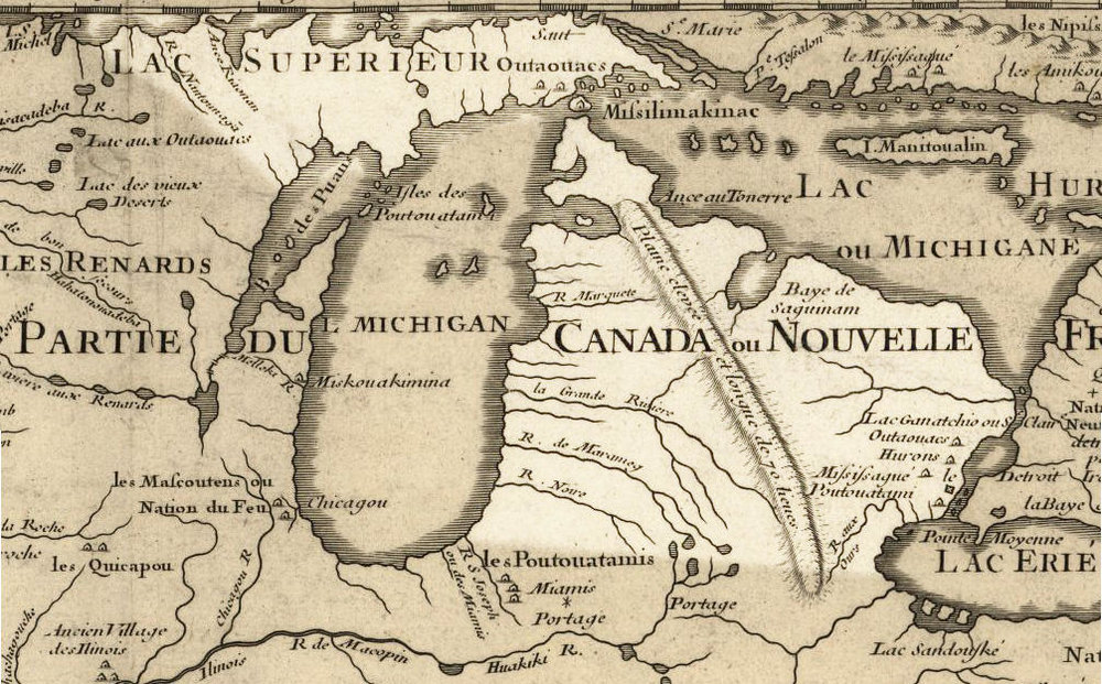 1718 Map of Michigan, Public Domain