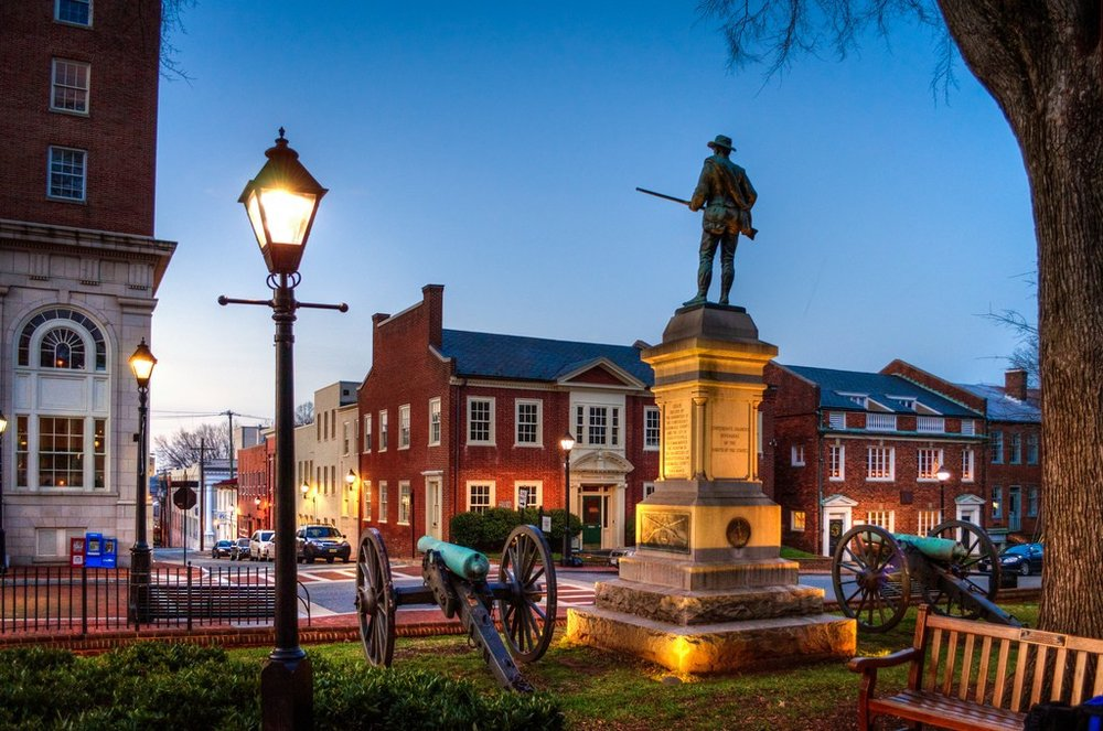 Dawn on E Jefferson St., Court Square, Charlottesville, VA. (Bob Mical/ Flickr )