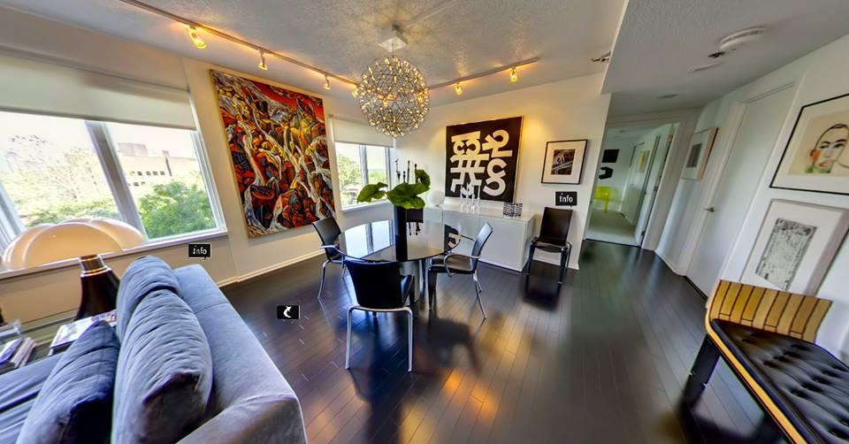 Complete renovation of a basic retirement community condominium transformed into a stylish showcase for contemporary art and furniture.