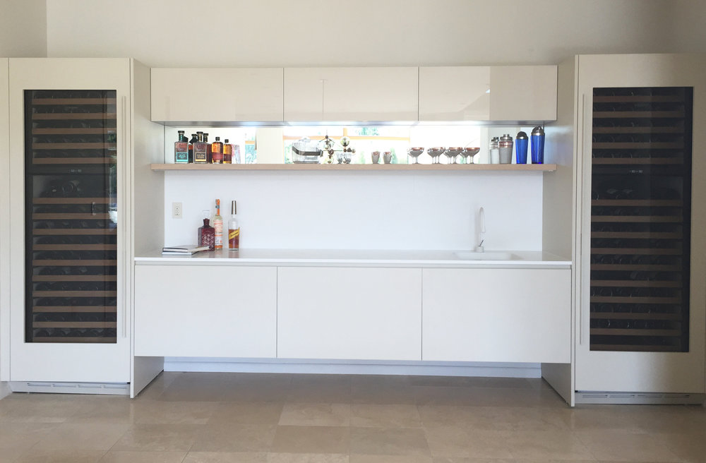 Completed home bar installation