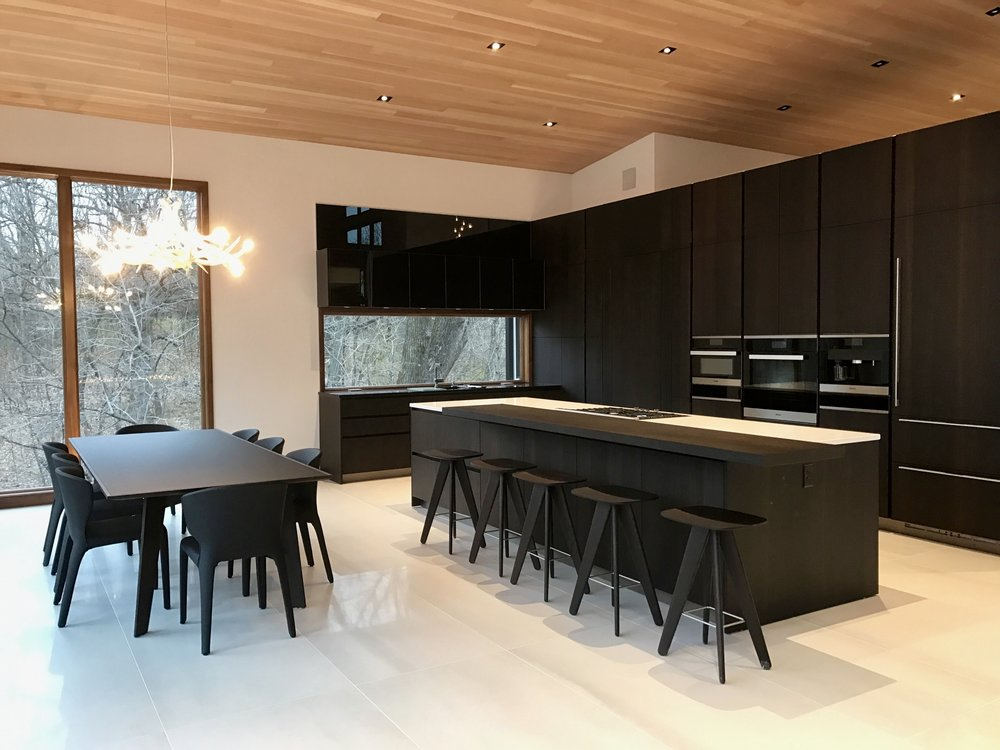 Poliform Kitchen, Poliform dining table and Roll & Hill 'Antlers' chandelier