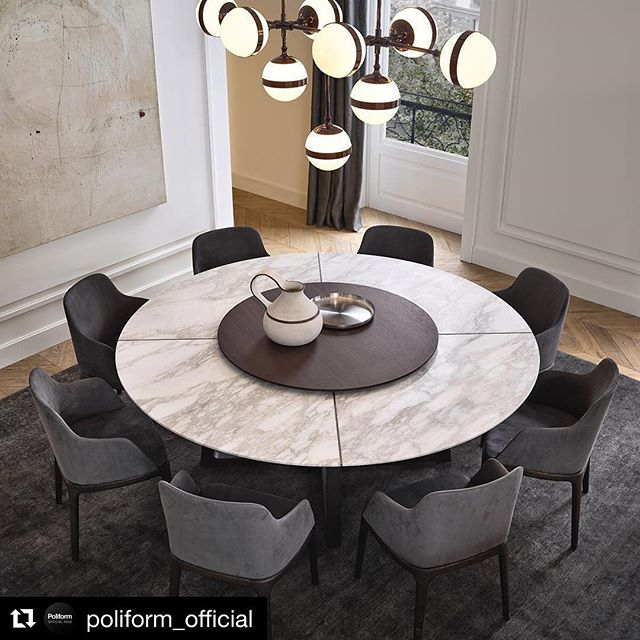 Simple yet elegant Poliform 'Concorde' table and 'Grace' dining chairs . . . #poliform #diningroom #modernhome #formaldining #marbletable #designerfurniture #moderndesign #contemporaryfurniture #italiandesign #elledecor #archdigest #projectscontemporaryfurniture