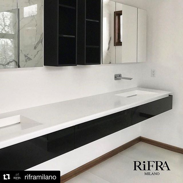 Our Rifra bathroom project in Ankeny IA ⚫️⚪️ . . . #riframilano #projectscontemporaryfurniture #interiordesign #bathroomdesign #masterbath #luxurybathroom #spa #moderndesign #contemporarydesign #interiors #modern #luxuryhome