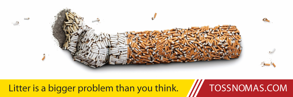Giant cigarette made from cigarette butts for an anti-litter billboard campaign.