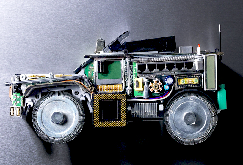 MRAP vehicle made from computer and industrial components. (AliceBlue)