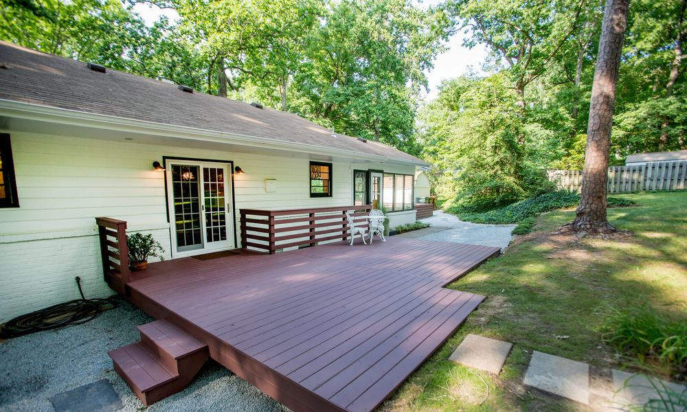 New French Doors, Deck, Hardscaping & Landscaping. (Photo: Kent Eanes)