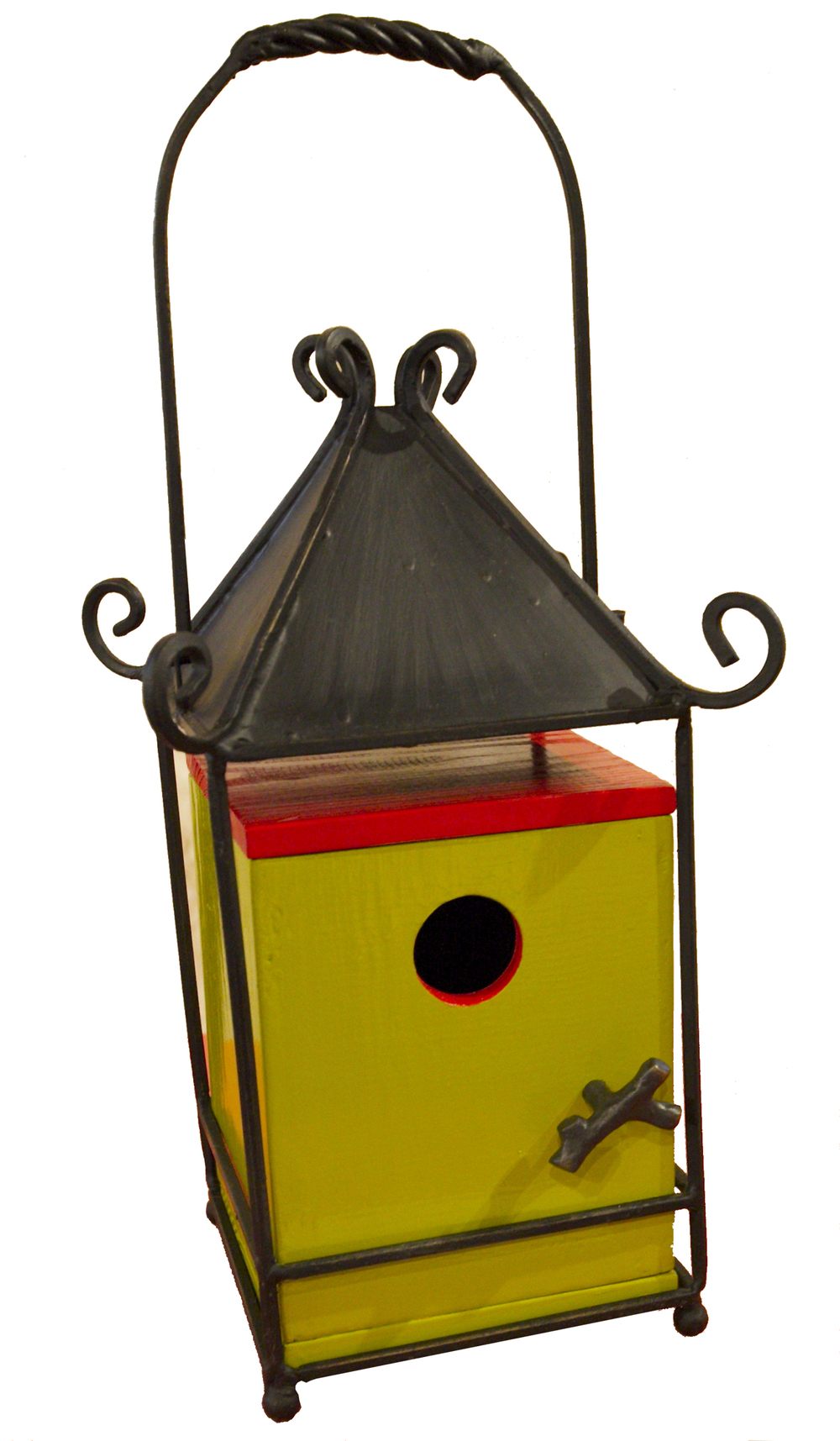 """Tori"". Birdtique made using an old lantern and architectural salvage."
