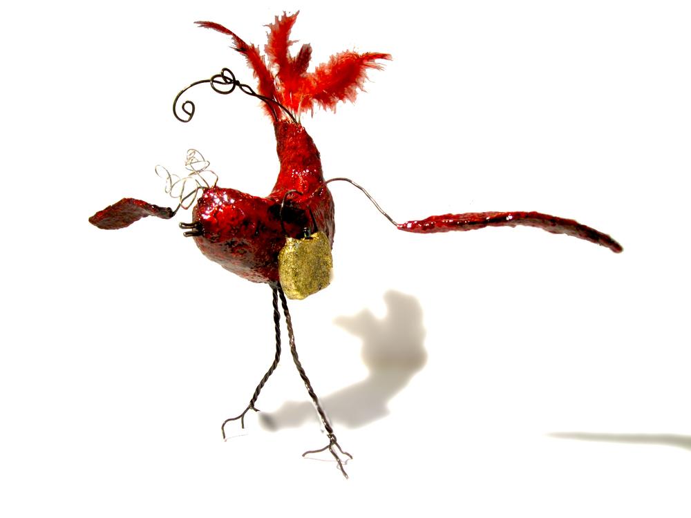 """""""Priscilla"""". Paper Maché and Wire sculpture."""