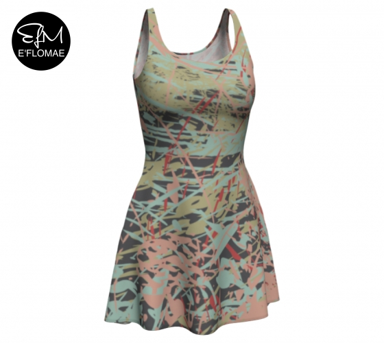 "E'FLOMAE TEXTILE PRINT ""REFLECTIONS"" USES PINK AND PASTEL HUES WITH DARKER COLORS FOR CHIC VIBES IN THE FASHION MARKET"