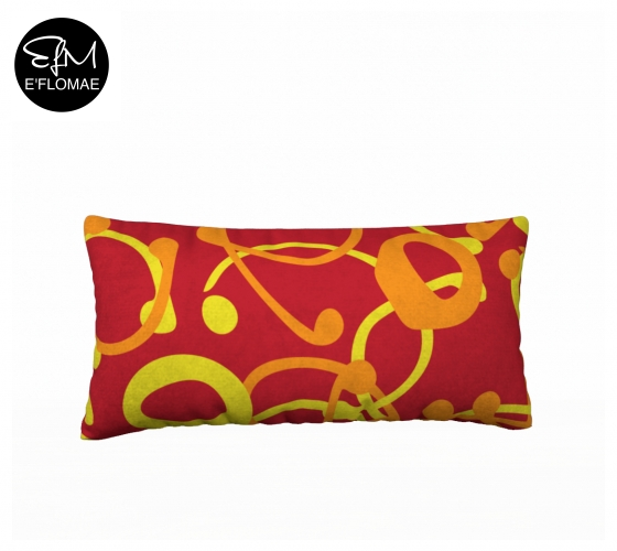 "RED ON ORANGE COLORWAY FOR PILLOW MOCK UP OF E'FLOMAE ""CONFETTI"" TEXTILE DESIGN"