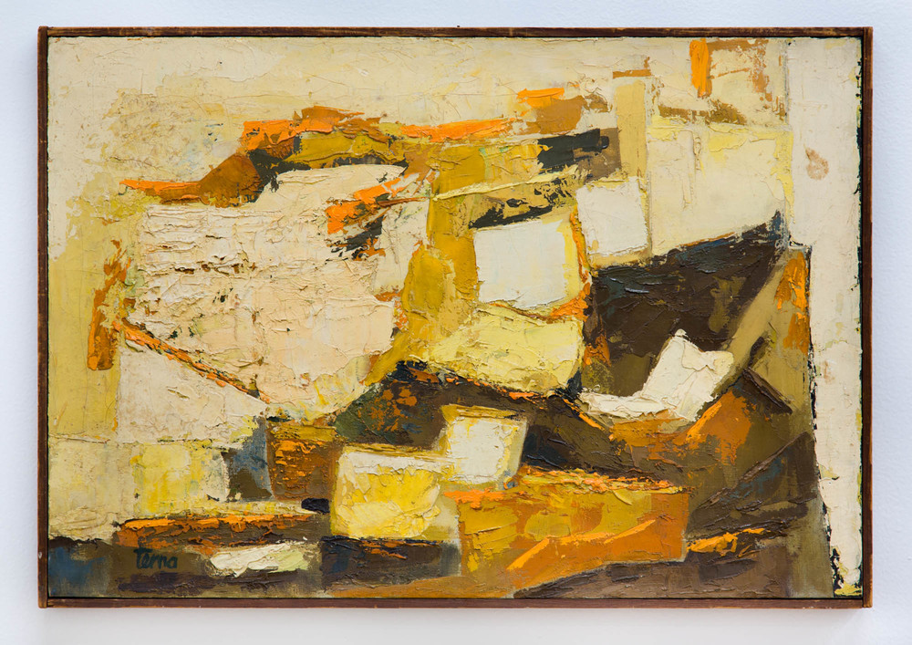 Houses on Cliffs , 1960, Oil on canvas, 15 x 22 in
