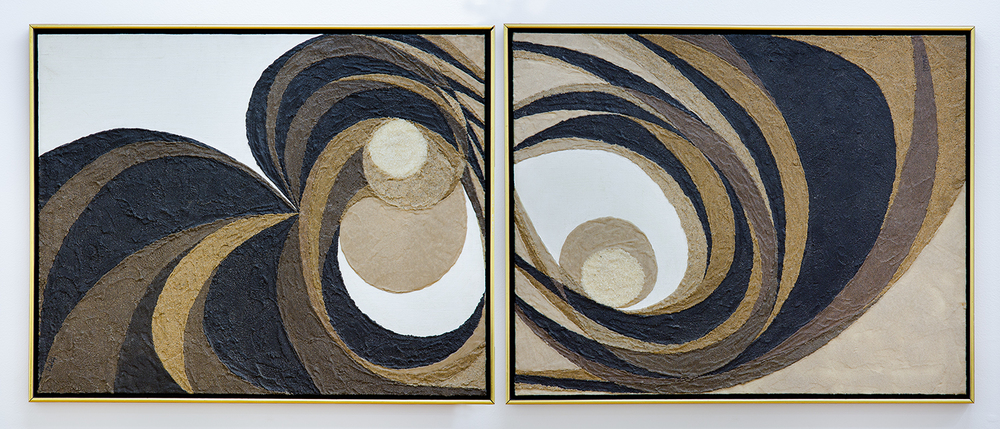 Untitled (Diptych), August 1973, Aggregates and acrylic on canvas, 20 x 24 in