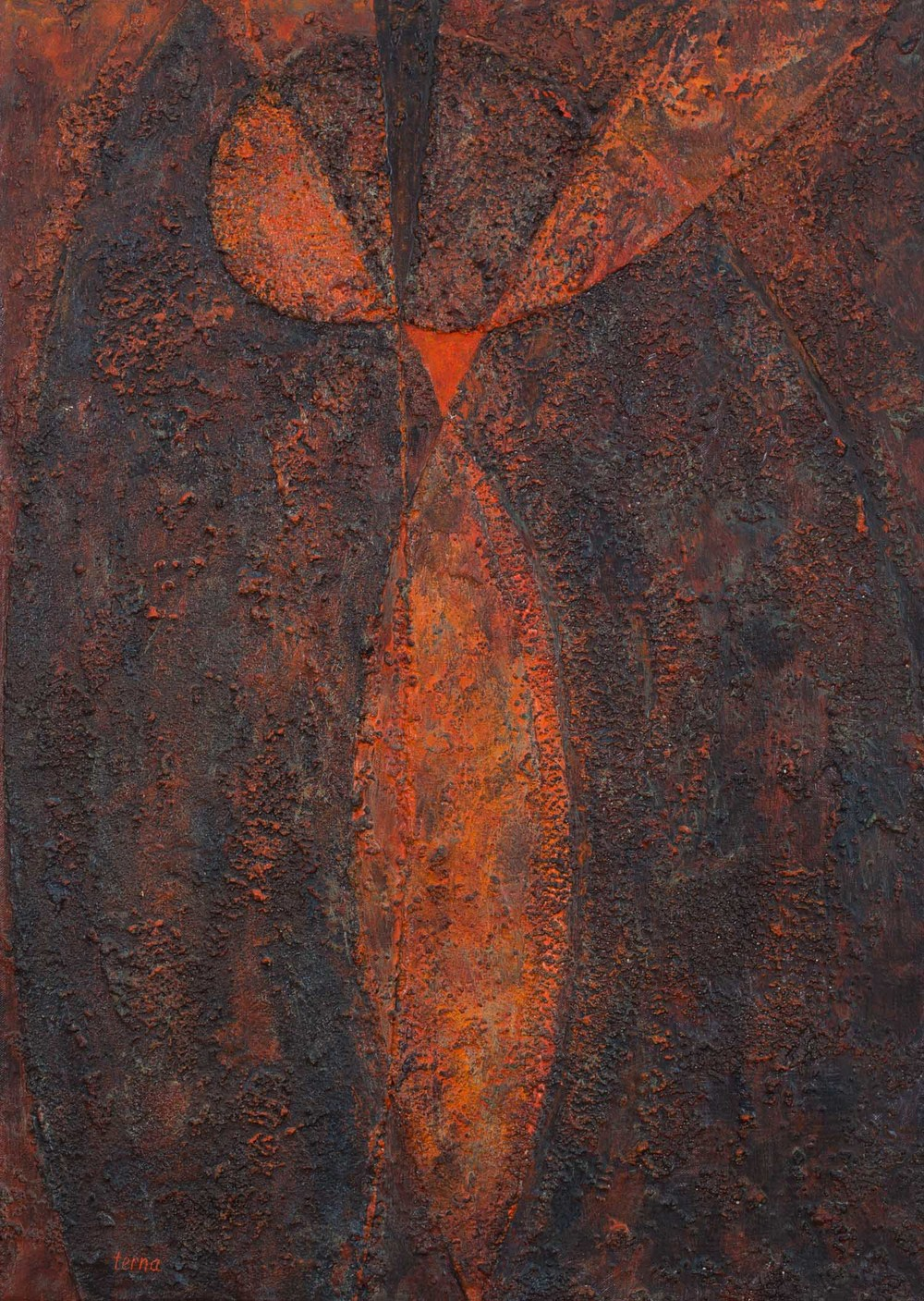 United by Fire  , November 1984, Acrylic and aggregate on canvas, 28 x 20 inches