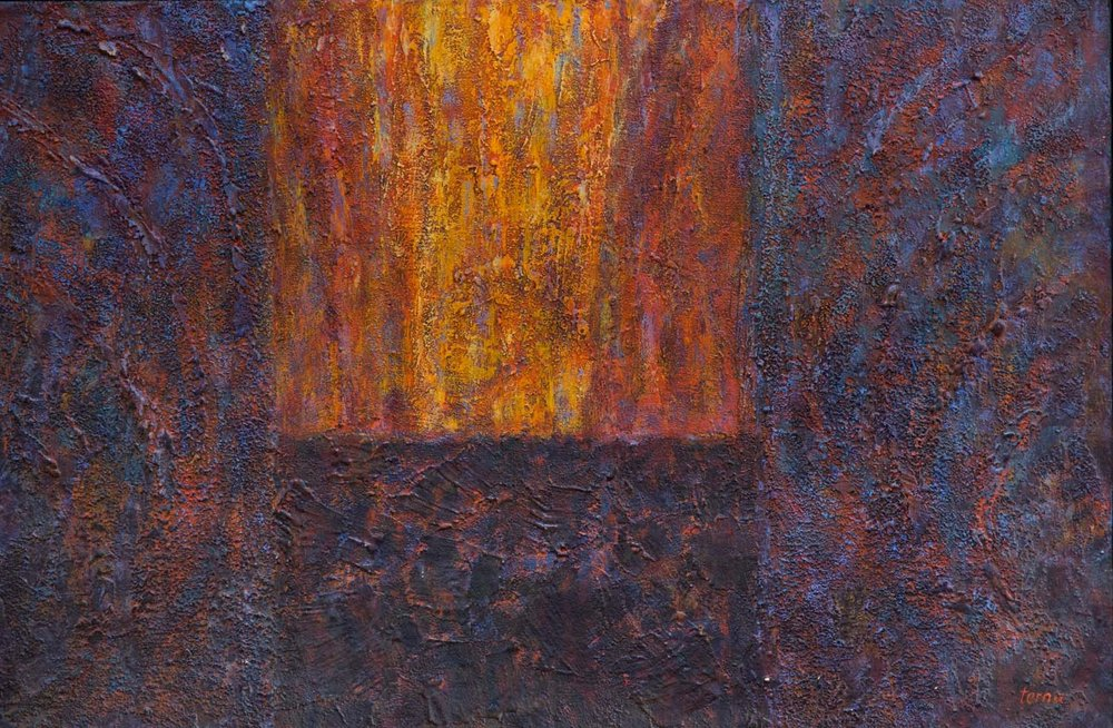 Reign of Fire,   November 1982, Acrylic and aggregate on canvas, 20 x 30 in