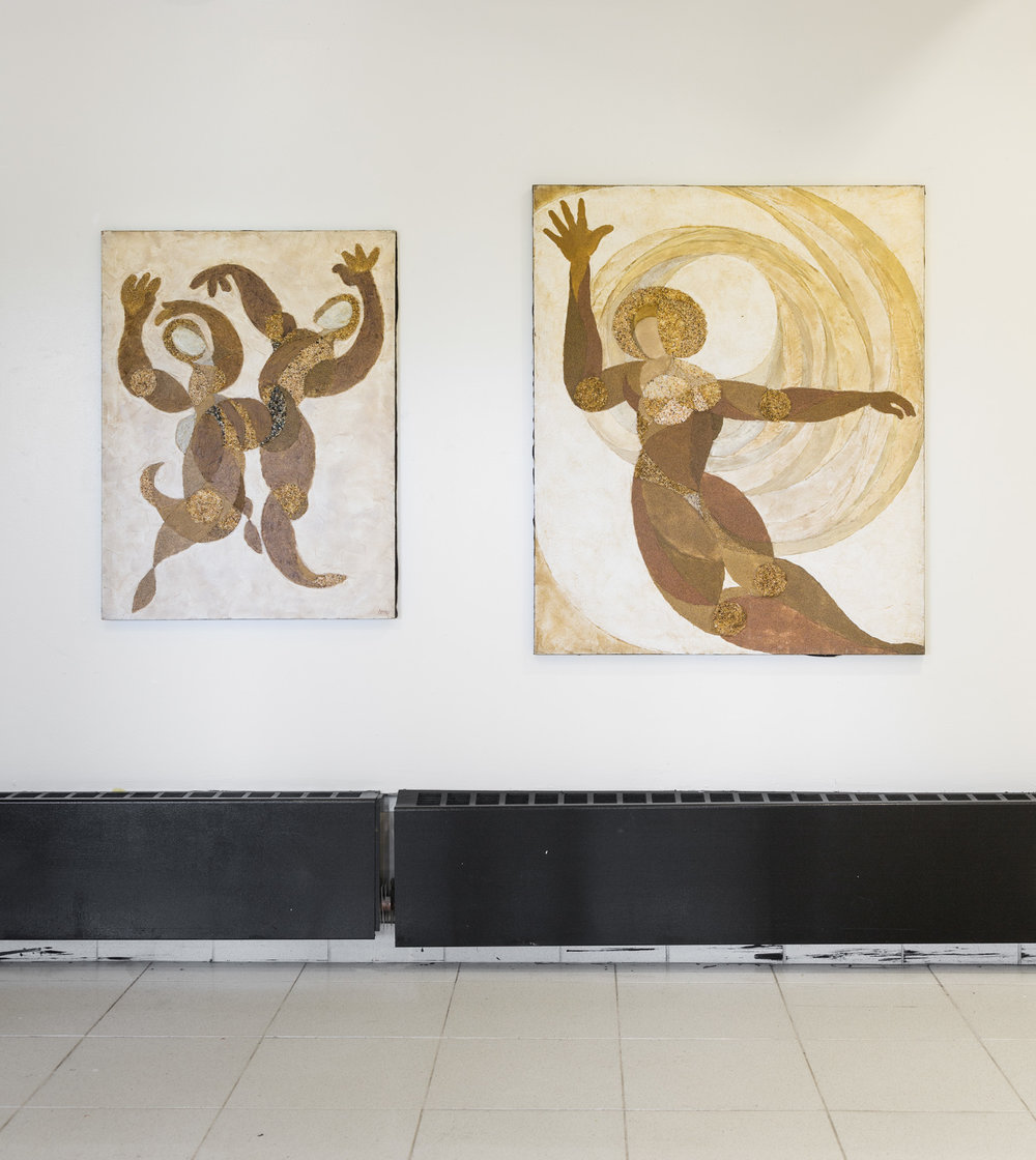Fred Terna,  Celebrating Changes , 1972, Acrylic and aggregates on canvas, 40 x 30 inches (left);  Respecting Future Riddles , 1971, Acrylic and aggregates on canvas, 40 x 48 inches (right)