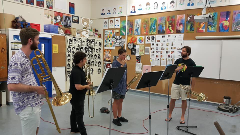 Trombones with their Tutor Mark Davey