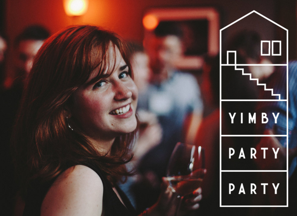 Pictured: Yimby Member Caitlin enjoying herself at the GrowSF fundraiser