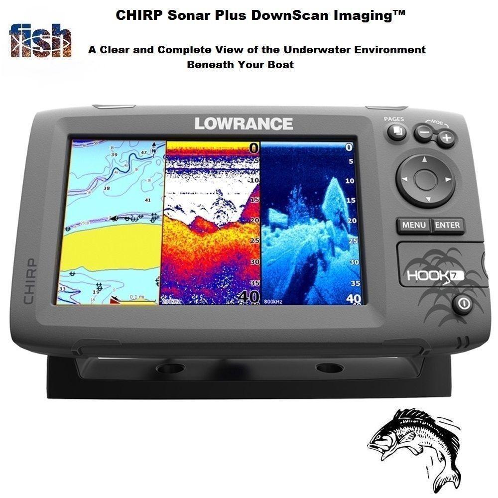 Lowrance HOOK-7 Fishfinder/GPS 83/200/455/800 HDI Transducer & Navionics+  Chart
