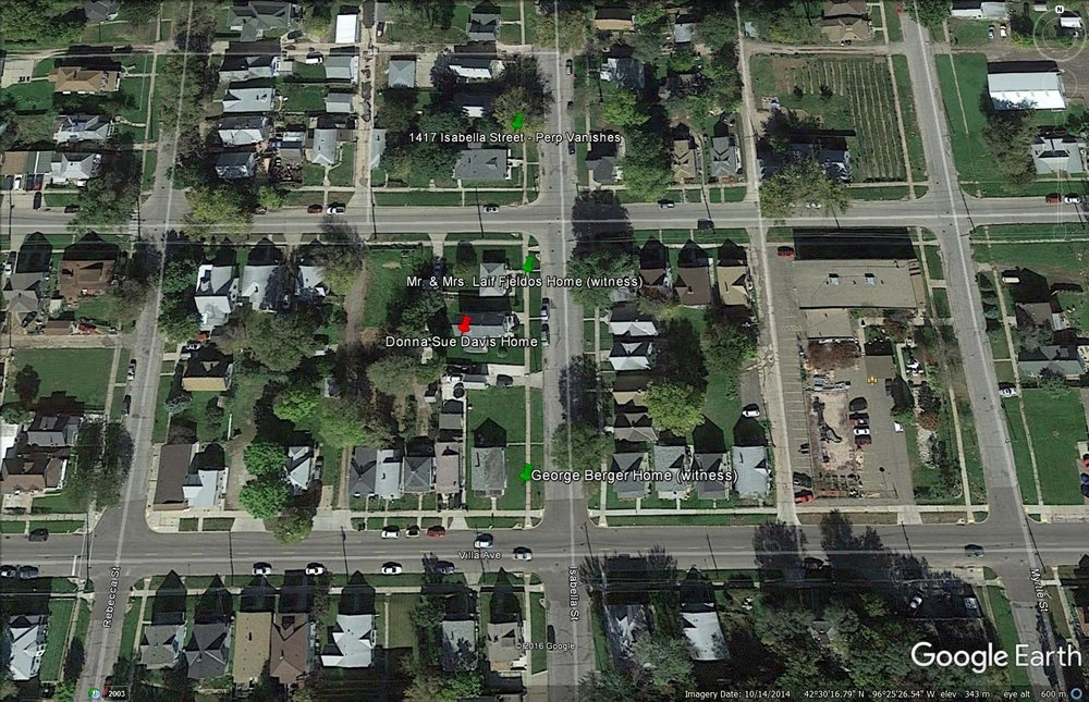 Image of Donna Sue Davis' neighborhood captured from Google Earth.