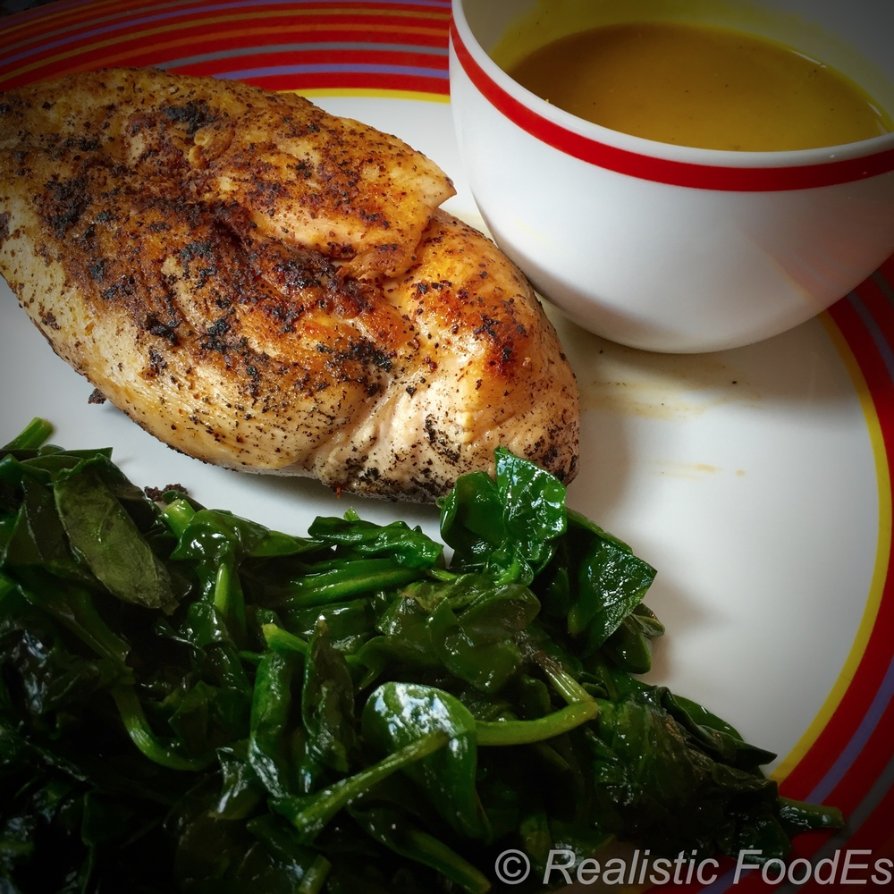 "Spinach, Pasture-raised Chicken & Butternut Squash Soup. Now that's what I call a ""Plate o' Real Food Tastiness""!"