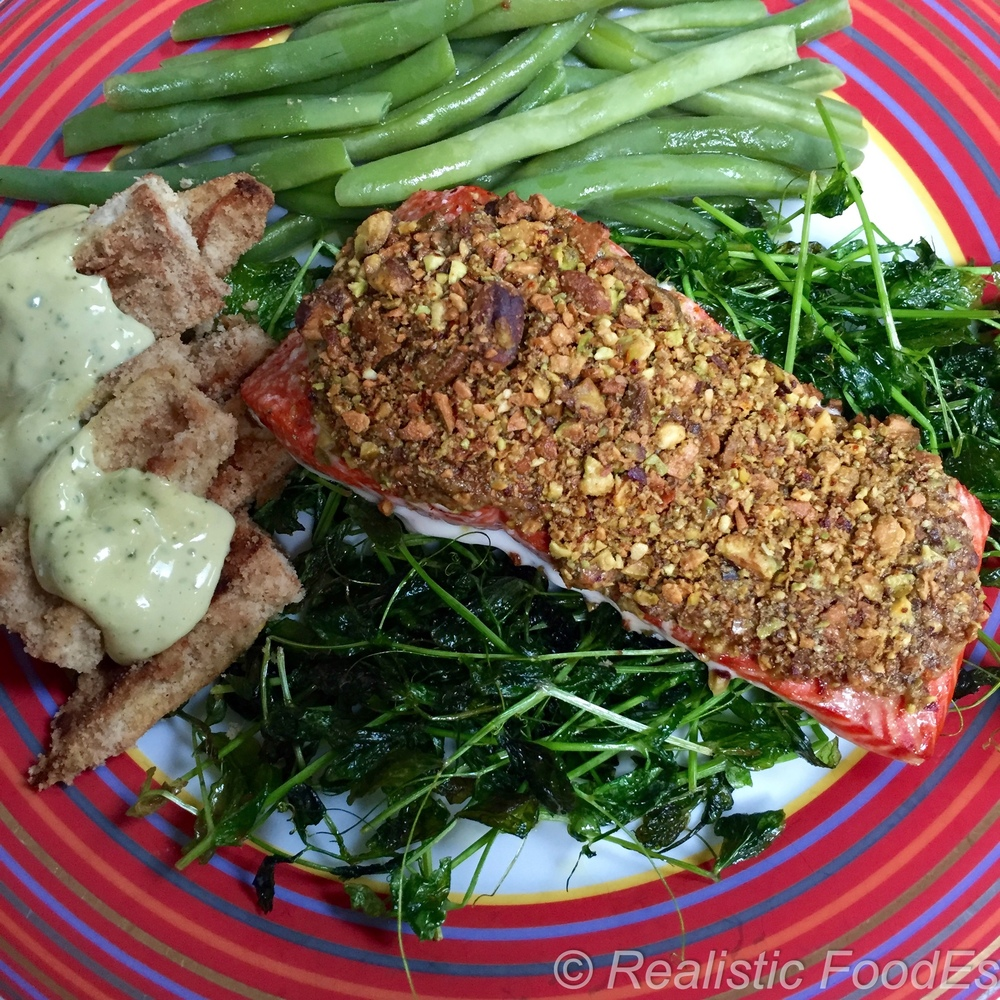 Pistachio Crusted Salmon. Wild Caught Copper River Salmon. YUM!!