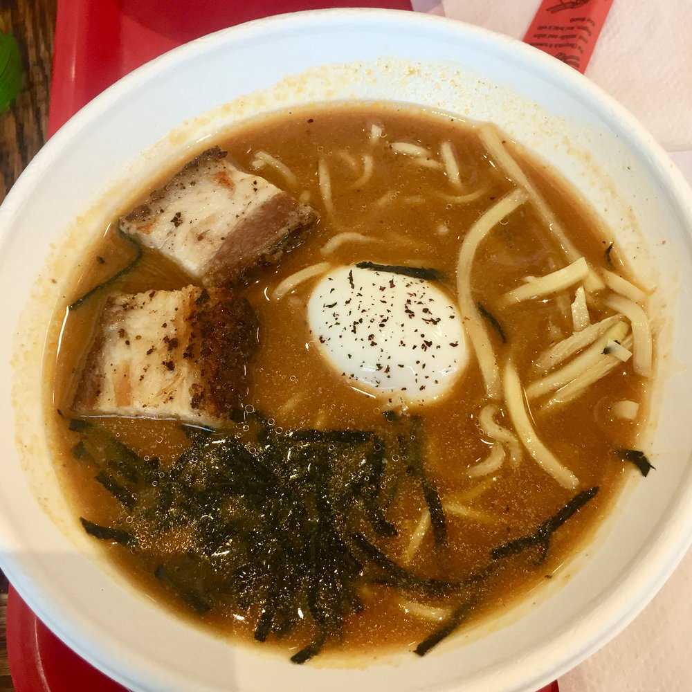 The OTOMO: Spicy miso pork & chicken broth, braised pork belly, poached egg, kamaboko, and nori. Sans the mushrooms & scallions because of a food sensitivity.